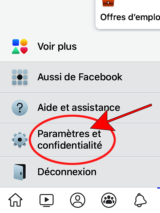 option Paramètres et confidentialité app facebook iphone